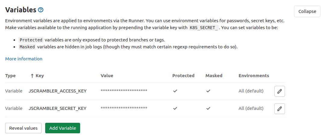 Jscrambler API keys as GitLab environment variables